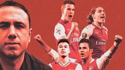 """Каджигао (вляво) на фона на някои от доведените от него играчи в """"Арсенал"""". Колаж: в. """"Марка"""""""