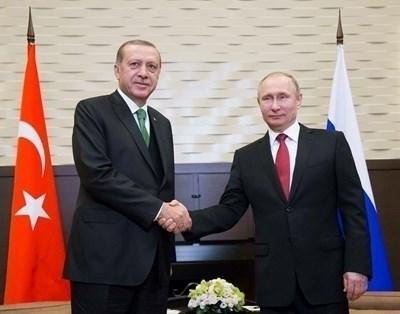 Президентите на Турция и Русия  - Реджеп Тайип Ердоган и Владимир Путин