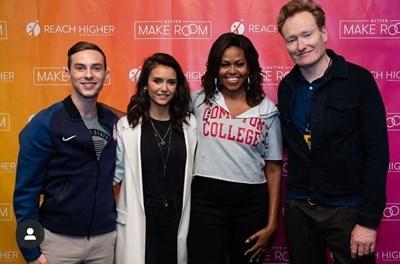 От лявно на дясно: фигуристът Адам Рипън, актрисата Нина Добрев, Мишел Обама и комедиантът и тв водещ Конан О'Браян  СНИМКА: ОФИЦИАЛЕН ИНСТАГРАМ ПРОФИЛ НА НИНА ДОБРЕВ