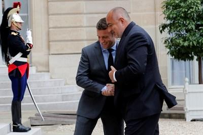 Еманюел Макрон и Бойко Борисов при посещението на премиера в Париж. СНИМКА: РОЙТЕРС