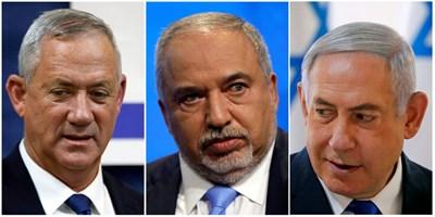 """Очаква се Бени Ганц и Бенямин Нетаняху (вдясно) да търсят коалиционна подкрепа от лидера на партия """"Нашият дом Израел"""" Авигдор Либерман (в средата). СНИМКА: РОЙТЕРС"""