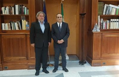 Министрите на културата на България Боил Банов и на Италия Алберто Бонисоли по време на работна среща в Рим. Снимка министерство на културата