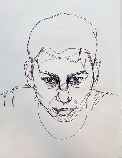"""С този """"Автопортрет"""" Марсело кандидатствал за университета в Нотингам. Следващите две негови рисунки също са включени в портфолиото му.  СНИМКА: Личен архив"""