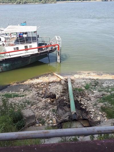 Ниските води на Дунав откриват част от канализационните тръби. Снимка АВТОРЪТ