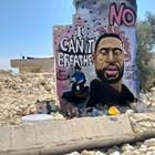 Графит на убития от полиция в САЩ Джордж Флойд е нарисуван като графит и в Идлиб, Сирия Снимка: Ройтерс