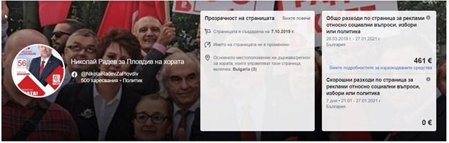 Шефът на червените съветници Николай Радев е отделил за реклама 912 лв.