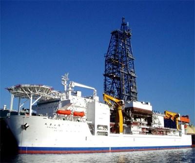 """Корабът """"Чикю"""" преди началото на най-важната си мисия  СНИМКИ: АГЕНЦИЯ ЗА ПОДЗЕМНИ ПРОУЧВАНИЯ НА ЯПОНИЯ"""