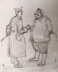 Хитлер и Сталин. Карикатура на Илия Бешков от 1939 г.