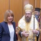 Белоградчишкият епископ Поликарп благослови Йорданка Фандъкова.  СНИМКИ: ЙОРДАН СИМЕОНОВ