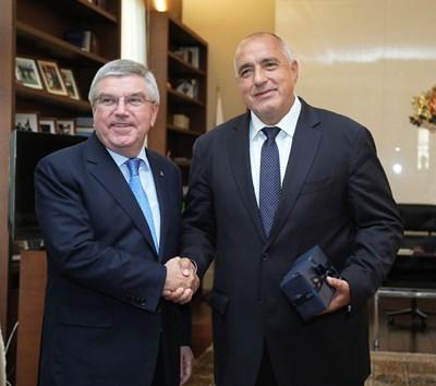 Шефът на МОК Томас Бах и премиерът на България Бойко Борисов  СНИМКИ: Правителствена пресслужба