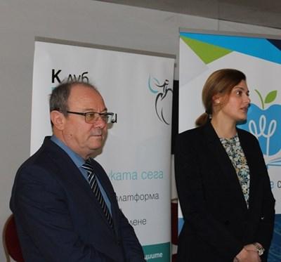 Председателят на БАН акад.Юлиан Ревалски и заместник-министърът на образованието и науката Карина Ангелиева. СНИМКА: Снимка: Авторът