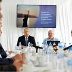 """Президентът Румен Радев и проф. Александър Маринов при представянето на стратегията в """"Бояна""""."""