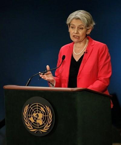 Ирина Бокова говори пред дипломати в ООН по време на публична дискусия. СНИМКА: РОЙТЕРС