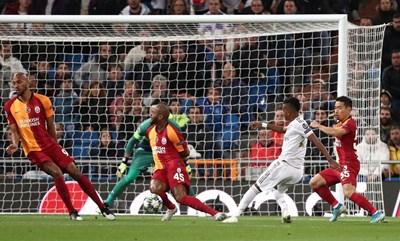 """Родриго вкарва първия гол за """"Реал"""" срещу """"Галатасарай"""". СНИМКА: РОЙТЕРС"""