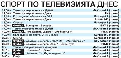 Спорт по тв днес: България - Беларус, още футбол от Шампионската лига, Григор срещу французин след 4 ч, колоездене, снукър