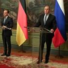 Руският външен министър Сергей Лавров след срещата в Москва с германския си колега Хайко Маас. Снимка Ройтерс