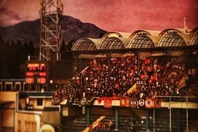 На стадиона в Подгорица имаше фенове само на ЦСКА. СНИМКА: Туитър