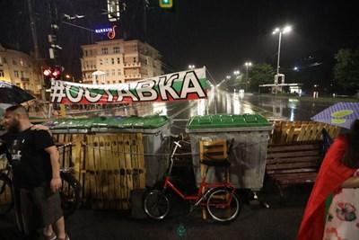 Блокадата в центъра на София - на Орлов мост. Снимка: Николай Литов