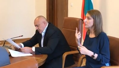 """Таня помага на хората с нарушен слух да """"чуват"""" на едно от заседанията на Министерския съвет."""