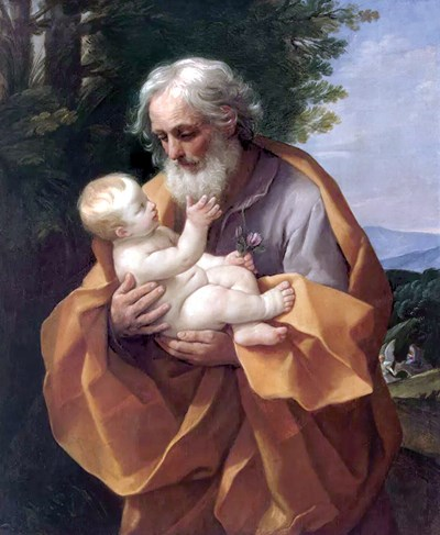 Белокосият свети Йосиф с младенеца Исус – картина от Гуидо Рени, XVII век