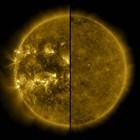 Двойна снимка, която показва слънцето при максимума на енергията му (вляво) и при минимума и началото на новия соларен цикъл.
