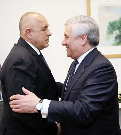 Бойко Борисов и Антонио Таяни СНИМКИ: правителствената пресслужба
