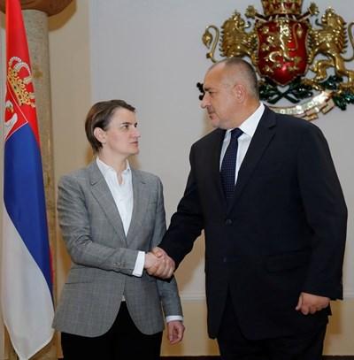 Премиерите на Сърбия и България Ана Бърнабич и Бойко Борисов  СНИМКА: Пресслужба на МС