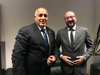 Бойко Борисов и белгийският премиер Шарл Мишел СНИМКИ: Фейсбук