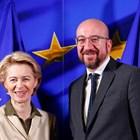 Бъдещата шефка на ЕК Урсула фон дер Лайен посреща новоизбрания председател на Европейския съвет Шарл Мишел в Брюксел.