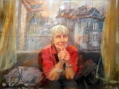 Този портрет на галеристката с любимата й котка, дело на Дафина Моллова, е избран за плаката на изложбата