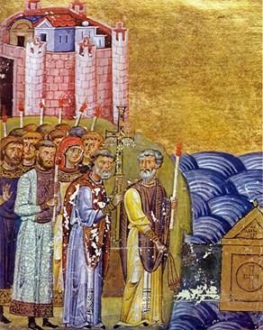 Посрещането на Кирил и Методий в Рим, миниатюра