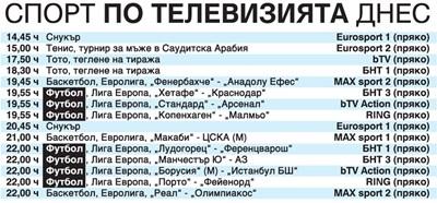 """Спорт по тв днес: """"Лудогорец"""" в битка за 1/16-финал срещу """"Ференцварош"""", още 6 мача от Лига Европа, тенис, баскетбол, тото, снукър"""