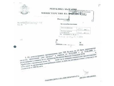 Факсимиле на титулната и последната страница от доклада на инспектората на МФ, който регистрира нарушенията на Валентин Симеонов.