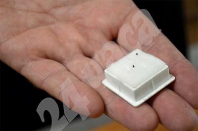 Двете малки черни точки в кутийката са първите диаманти, намерени у нас.   СНИМКА:  ЕЛЕНА ДОНКОВА  СНИМКА: 24 часа