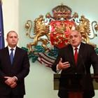 """Президентът Румен Радев и премиерът Бойко Борисов миналата година след среща на кризисния щаб във връзка с мерките срещу коронавируса. СНИМКА: """"24 ЧАСА"""""""