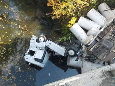 Турски тир падна в река Луда Камчия, шофьорът невредим (Снимки) - 24chasa.bg