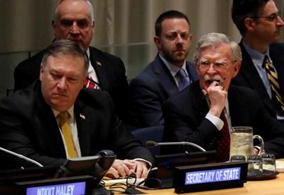 Майк Помпейо и Джон Болтън в кулоарите на годишната сесия на Общото събрание на ООН СНИМКА: Ройтерс
