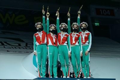 """""""Диамантите"""" от българския ансамбъл станаха безапелационно №1 на световната купа по художествена гимнастика в Азербайджан."""