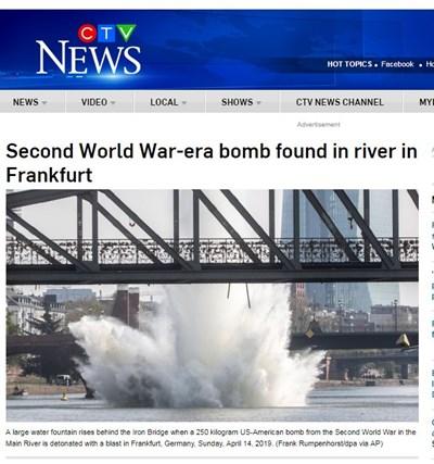 Детонацията предизвика издигането на воден стълб, висок няколко метра. Факсимиле ctvnews.ca