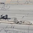 """Полицаите разглеждат номера на катастрофиралия и избягал автомобил. Снимка: Фейсбук група """"Забелязано в Пловдив"""""""
