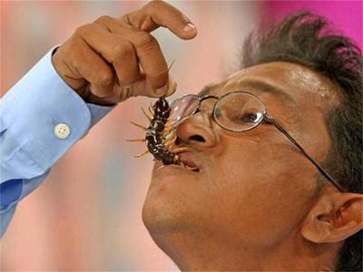 Тайландецът Калауек Срикхаймук показва как е правилно да се ядат насекоми.