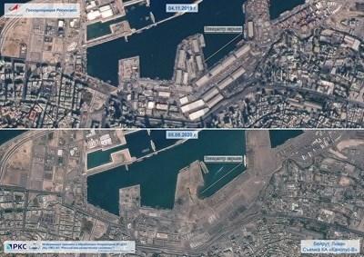 Снимка от космоса показва щетите от взрива в Бейрут: Туитър/ Роскосмос