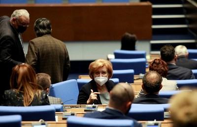 Председателят на бюджетната комисия в парламента Менда Стоянова в новата пленарна зала.   СНИМКА: Велислав Николов