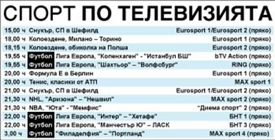 Спорт по тв днес: Лига Европа тръгва пак с 4 мача, футбол и от МЛС, световно по снукър, колоездене, NBA, NHL, Формула Е, тенис