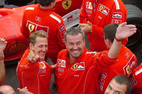 """Шумахер и Степни заедно работеха за просперитета на """"Ферари"""", но съдбата и на двамата беше нерадостна."""