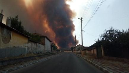 Огнен ад край Старосел, ще евакуират хора (Видео, снимки)