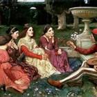 """Илюстрация от """"Декамерон"""". Реститута е най-вдясно от седящите пред младежа девойки. Сн. АРХИВ 24 ЧАСА"""