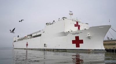 Кораб болница отпътува от Вирджиния за Ню Йорк.