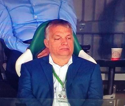 Орбан на стадиона в Разград. Снимката е от тв екрана
