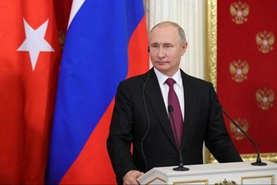 Владимир Путин на пресконференция след срещата си с Ердоган в Москва СНИМКИ: Ройтерс